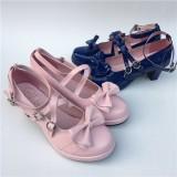 Black Bows Crossed Straps Matte Lolita Shoes Classic