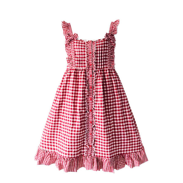 Baby Doll Style Gingham Lolita JSK Dress - Ready Made