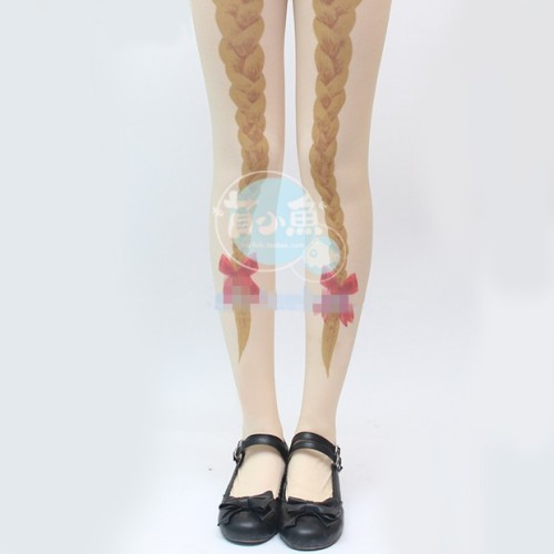 Mu Fish Pigtail Bowknots Prints Lolita Tights