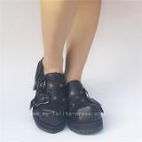 Black Square Heels Cowhide Lolita Shoes