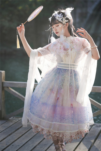 Sakura Carp Heavy Hand-made Lolita OP Set -Ready Made