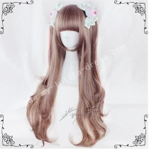 70cm Brown Pink Curls Lolita Wig