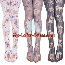 Mu Fish Cute Bear Printed Lolita Tights-Clearance