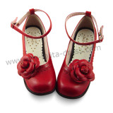 Middle Heels Wine Flower Lolita Shoes