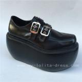Black Matte Lolita High Platform Shoes with Buckles