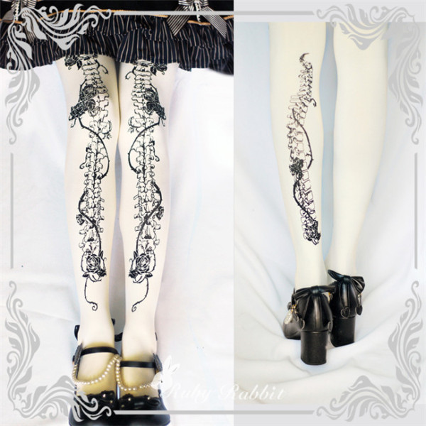 Ruby Rabbit ~ Rose Bone ~ Lolita Printed Tights