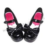 Black Shiny PU Bow Hearts Lolita Shoes