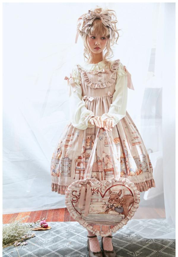 Annie's Breakfast~ Lolita Printed JSK Dress Normal/High Waist Version - Ready Made