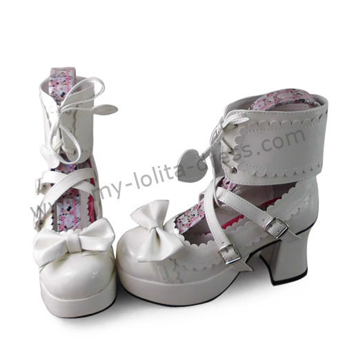 Glossy White Ankle Belt Bows Lolita Princess Shoes
