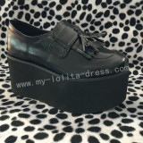 Gothic Matte Black Lolita High Platform Shoes 2 Versions