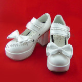 Black Top Bow Lolita Shoes White Trim
