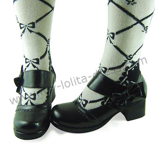 Black Wide Straps Bow Lolita Footwear