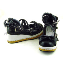 Black White 2 Colors Lolita Flat Shoes