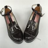 Sweet Matte Black Lolita  Wedge Heels Shoes