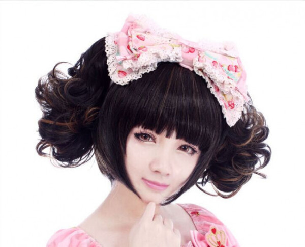 Girl's Housemaid Sweet Short Lolita Curls Wig