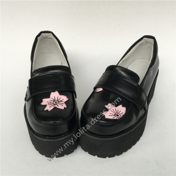 High Platform Sweet Black Lolita Shoes with Pink Sakura Pattern