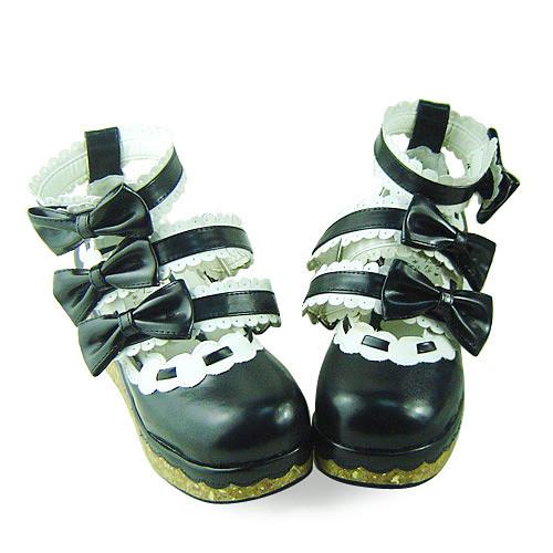 White Black Bows Lolita Shoes