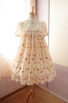 Neverland Lolita ***Sweet Afternoon Tea*** High Waist Lolita OP Pink L In Stock