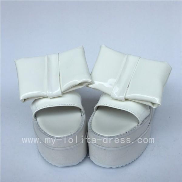 Sweet High Platform White Glossy Lolita Sandals