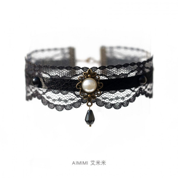 Romantic Black Lace Bowknot Pearl Lolita Choker