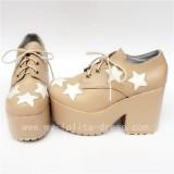 Sweet Glossy Black White Five Star Lolita High Platform