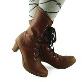 Coffee Straps Lolita Heels Boots