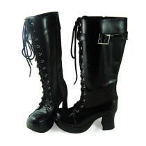 Black High Heels Straps Lolita Boots