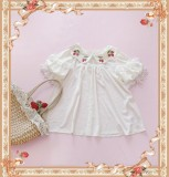 Strawberry Embroider-  Sweet Chiffon Lolita Short Sleeves Blouse-out