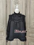 Alice Girl ~Gingham Teddy Vintage Velvet Lolita Blouse - Black Size L  In Stock