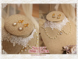Cutie Creator Lace Beadchain Lolita Choker and Earrings Sets