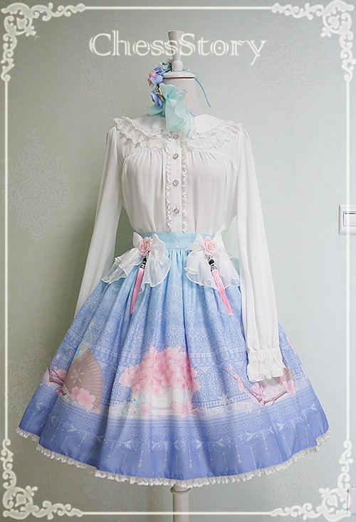 Chess Story -Peachblossom and Snow- Lolita Skirt