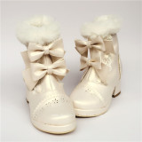Sweet Pearl White Two Bows Lolita Winter Boots