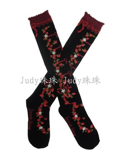 Bows Printed Black Long Lolita Socks - IN STOCK