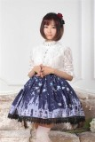 Dark Blue Gothic Lolita Pleated Skirt with Church Pattern