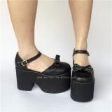 Matte Black Elegant Bow Lolita Girls Shoes