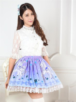 Blue-violet Exclusive Beast Printed Lolita Pleated Skirt