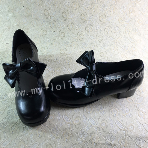 Sweet Matte Black Lolita Square Heels Shoes with Bowknots