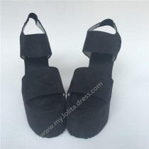 High Platform Black Velvet Lolita Shoes