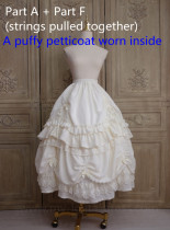 Little Dipper Camellia~ Sweet Lolita Underskirt Petticoat -Flexible Length -Ready Made