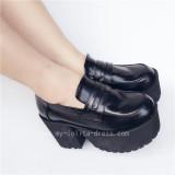 Black Matte Square Heels Lolita Shoes