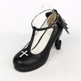 Angelic Imprint- Elegant T-shaped Straps Lolita Heels Shoes with Angel Wings