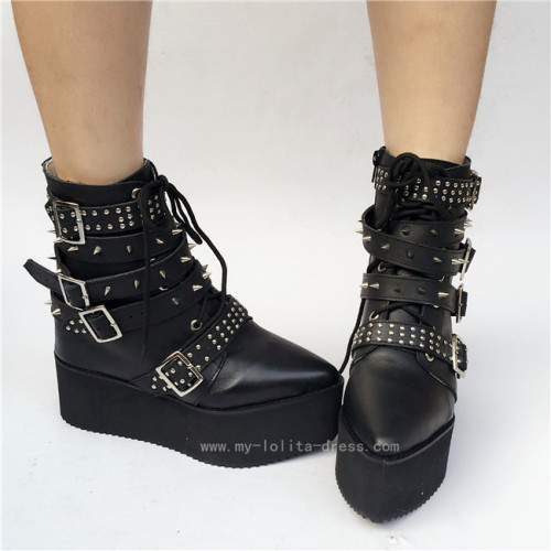 Punk Style Black Height Increasing Lolita Boots
