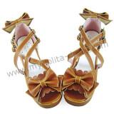 Light Coffee Bows Lolita Summer Sandals