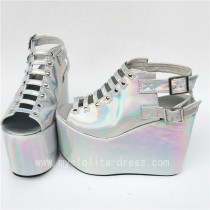 Beautiful Glitter Silver Lolita High Platform Shoes