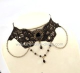 Flowers Theme Black Lace Lolita Goth Choker