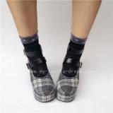 Coffee Gingham Lolita Shoes