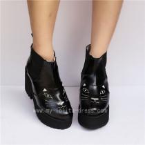 Gothic Black Matte Lolita Boots