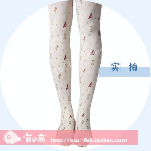 Hourglass Prints Velvet Sweet Lolita Tights - In Stock