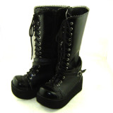 Black Straps High Platform Lolita Boots