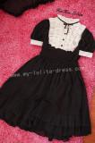 Sweet Chiffon Black White Lolita OP Dress and Mini Cape